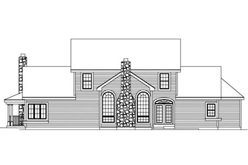 Farmhouse Exterior - Rear Elevation Plan #57-135 - Houseplans.com