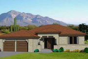 Adobe / Southwestern Style House Plan - 3 Beds 2 Baths 2142 Sq/Ft Plan #116-296 Exterior - Front Elevation
