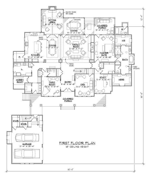 Country Floor Plan - Main Floor Plan #1054-95