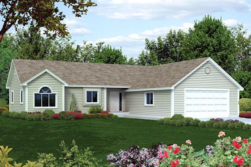 Ranch Style House Plan - 3 Beds 2 Baths 1242 Sq/Ft Plan #57-281 Exterior - Front Elevation