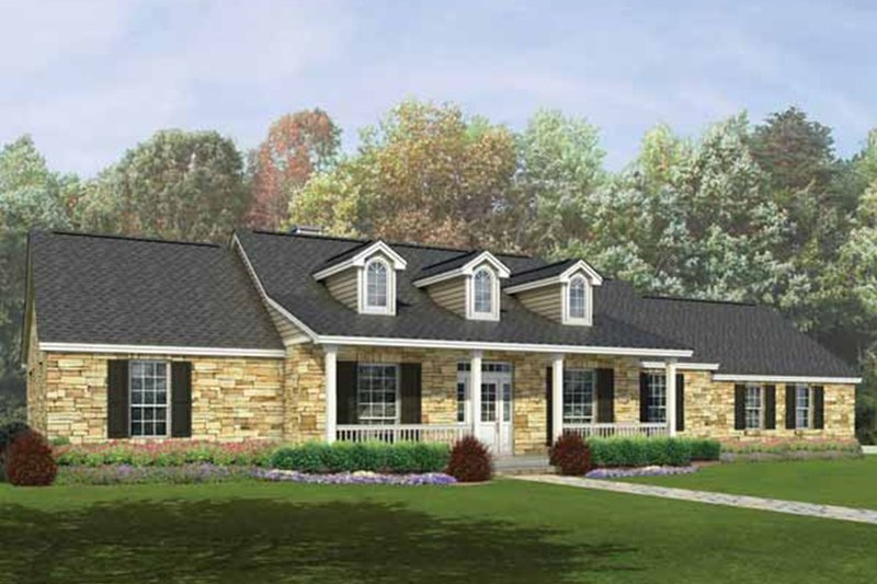 Ranch Style House Plan - 4 Beds 3 Baths 2190 Sq/Ft Plan #935-2 Exterior - Front Elevation