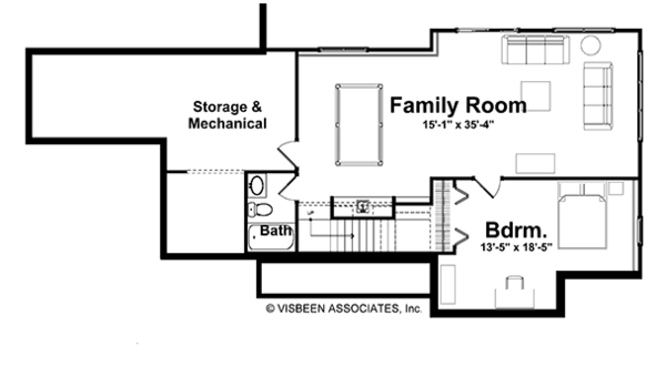 Craftsman Floor Plan - Lower Floor Plan Plan #928-117