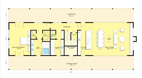 Modern Farmhouse style plan, modern design home, main level floor plan