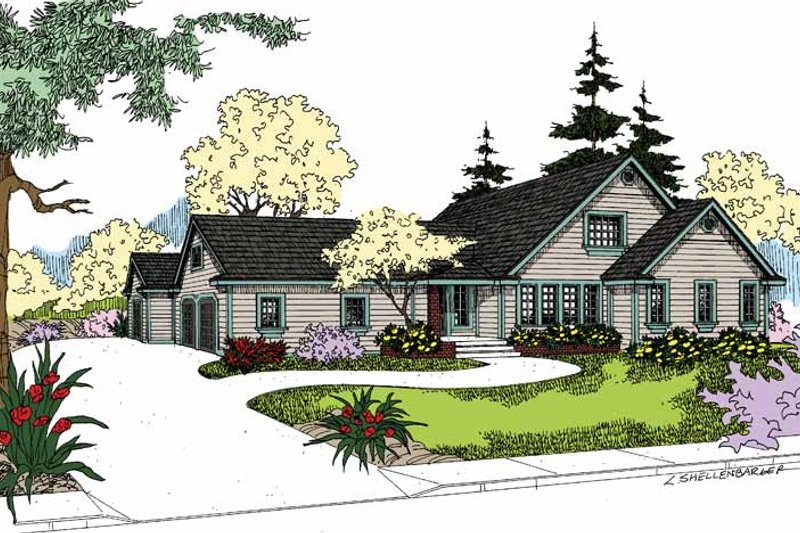 Craftsman Exterior - Front Elevation Plan #60-1003