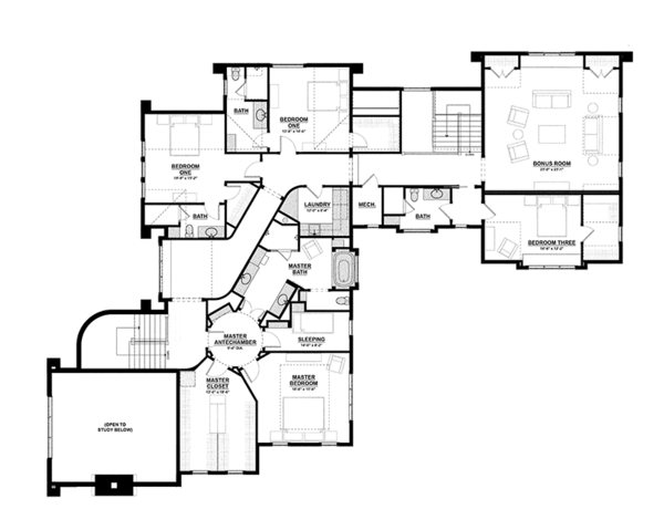 Tudor Floor Plan - Upper Floor Plan Plan #928-275