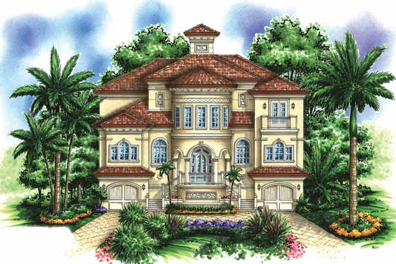 Mediterranean Exterior - Front Elevation Plan #1017-154