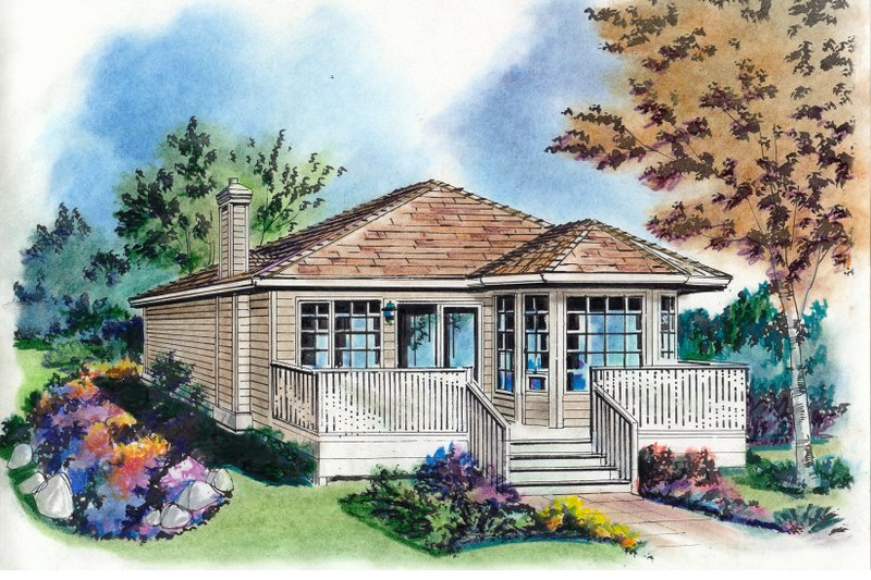 Cottage Exterior - Front Elevation Plan #18-163