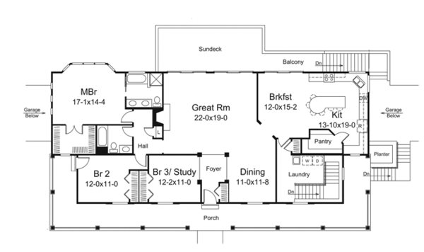 Ranch Floor Plan - Main Floor Plan Plan #57-635