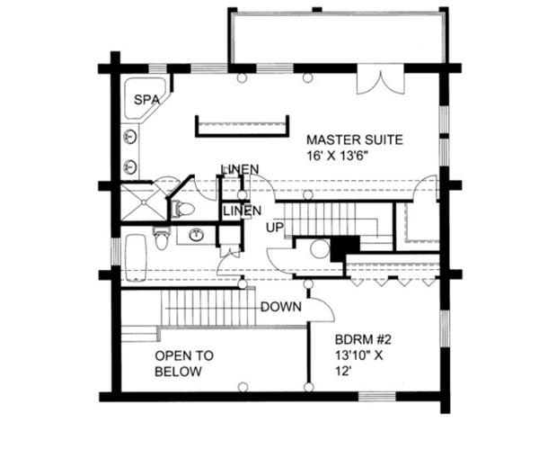 Log Floor Plan - Upper Floor Plan Plan #117-825