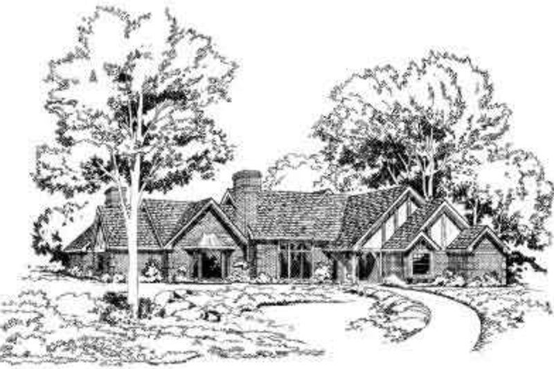 European Style House Plan - 4 Beds 3 Baths 2864 Sq/Ft Plan #312-494 Exterior - Front Elevation