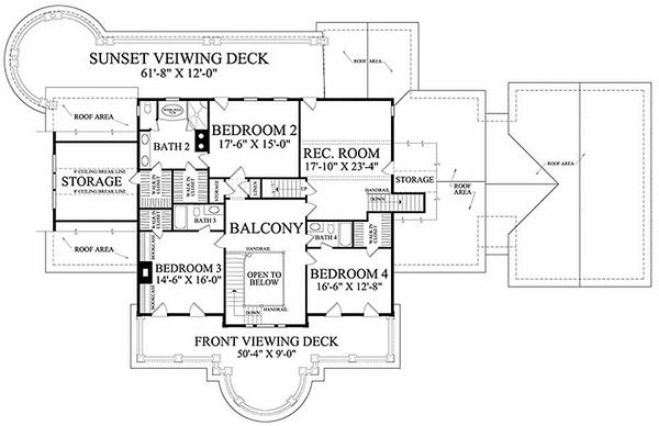 Southern Floor Plan - Upper Floor Plan Plan #137-186