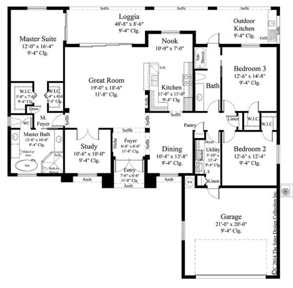 Mediterranean Floor Plan - Main Floor Plan Plan #930-453