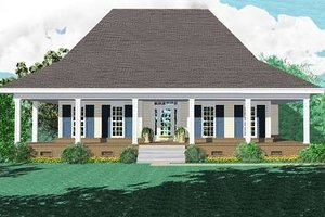 Southern Exterior - Front Elevation Plan #81-274