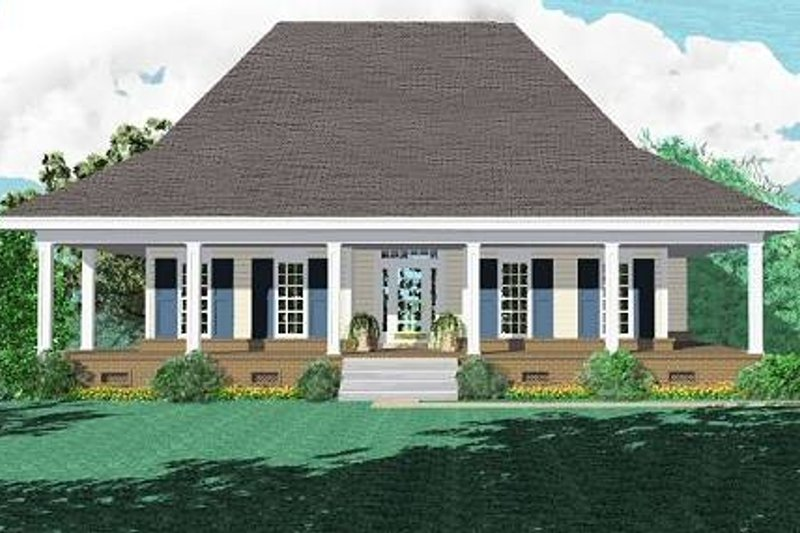 Southern Style House Plan - 3 Beds 2 Baths 1670 Sq/Ft Plan #81-274 Exterior - Front Elevation