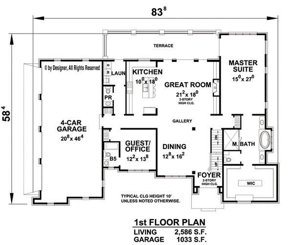 European Floor Plan - Main Floor Plan Plan #20-2276