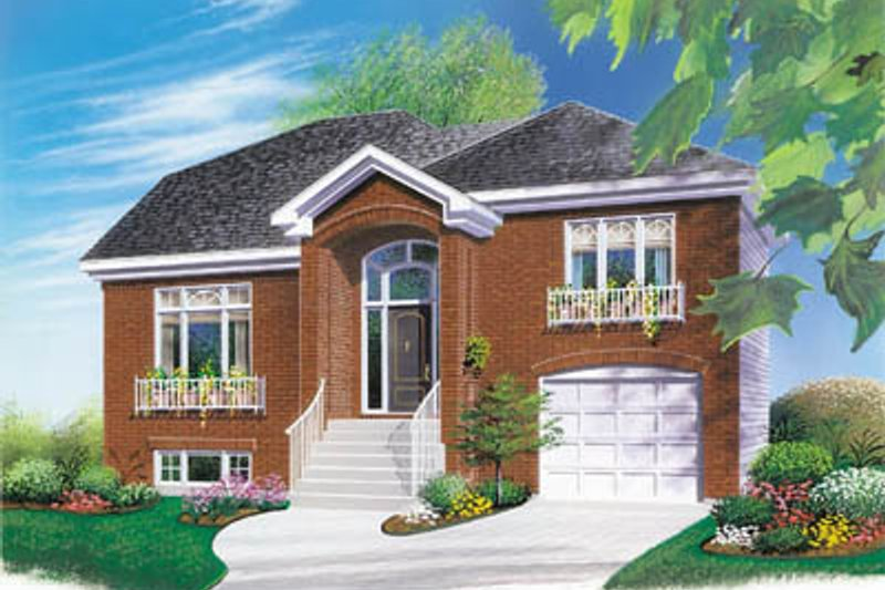 European Style House Plan - 3 Beds 1.5 Baths 1514 Sq/Ft Plan #23-2083 Exterior - Front Elevation