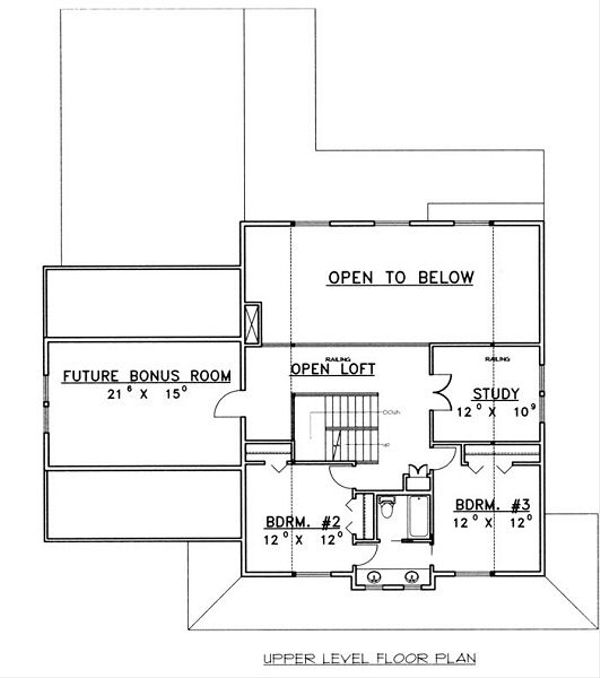 Country Floor Plan - Upper Floor Plan Plan #117-536