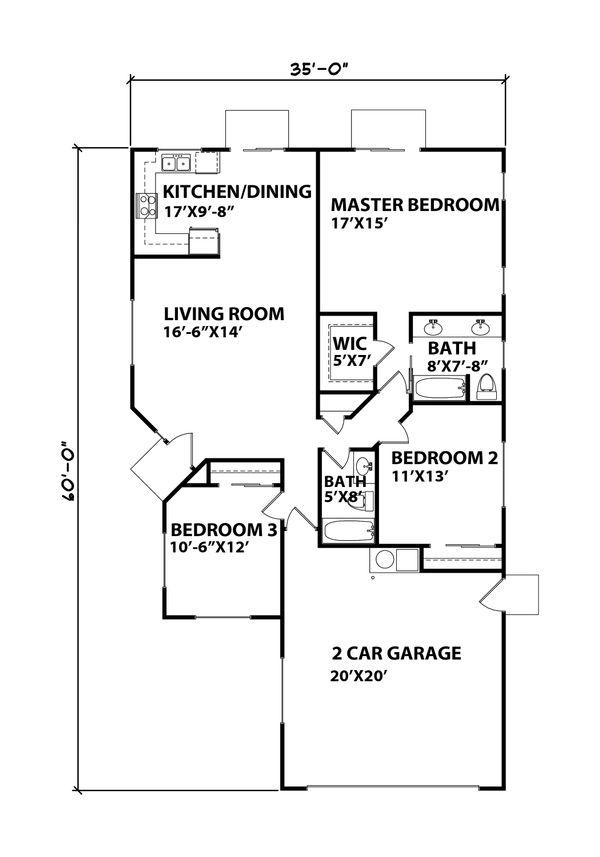 Ranch Floor Plan - Main Floor Plan Plan #515-24