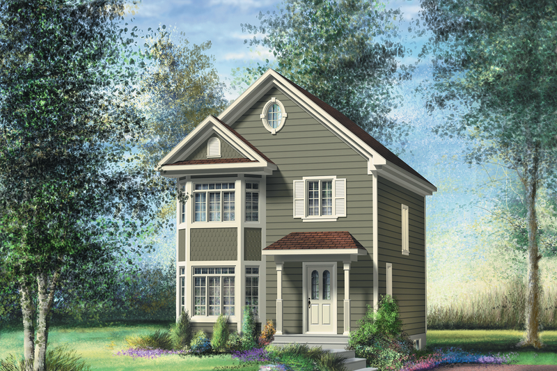 Victorian Style House Plan - 3 Beds 1 Baths 1280 Sq/Ft Plan #25-4723 Exterior - Front Elevation