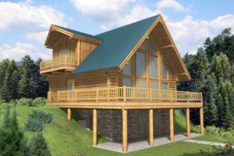 Log Exterior - Front Elevation Plan #117-412