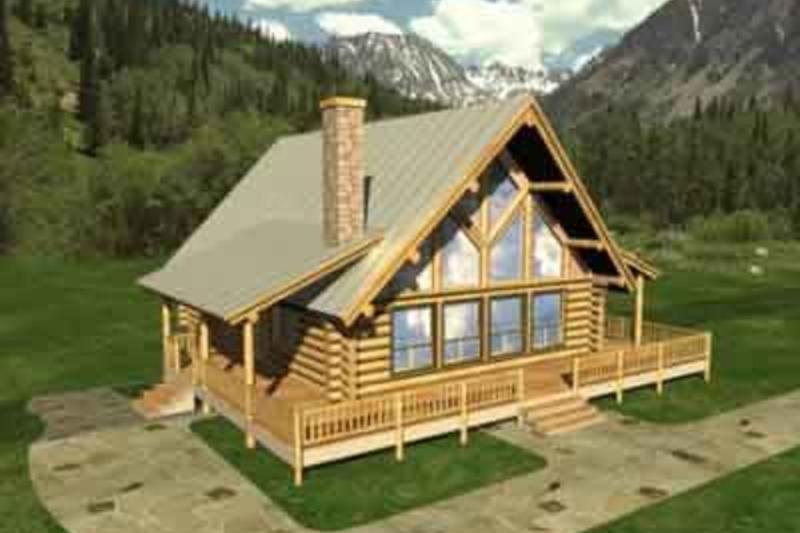 Log Exterior - Front Elevation Plan #117-110 - Houseplans.com