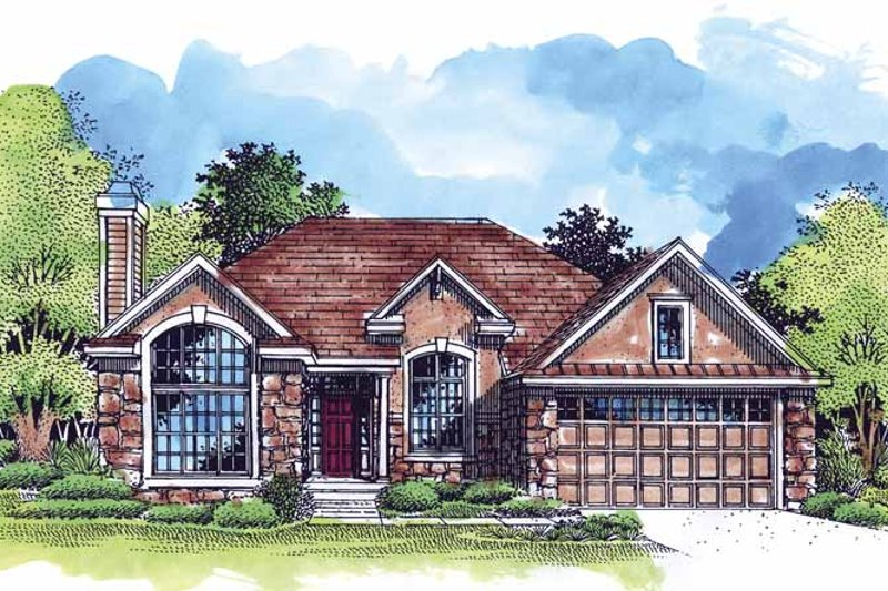Country Exterior - Front Elevation Plan #320-529