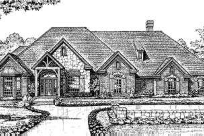 European Style House Plan - 4 Beds 3.5 Baths 3352 Sq/Ft Plan #310-202 Exterior - Front Elevation