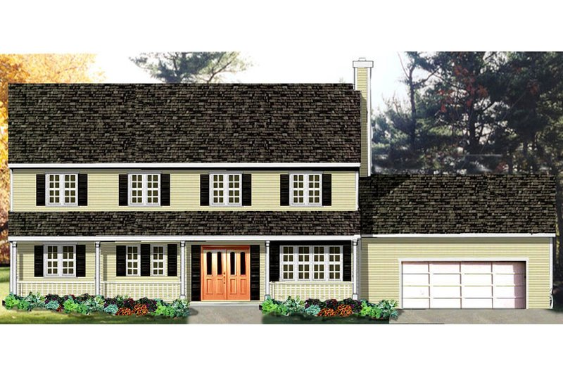 Dream House Plan - Colonial Exterior - Front Elevation Plan #3-156