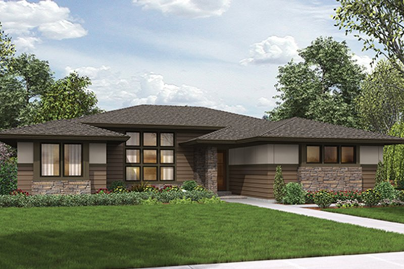 Contemporary Exterior - Front Elevation Plan #48-917 - Houseplans.com