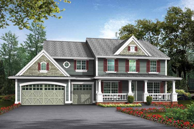 Country Exterior - Front Elevation Plan #132-437 - Houseplans.com