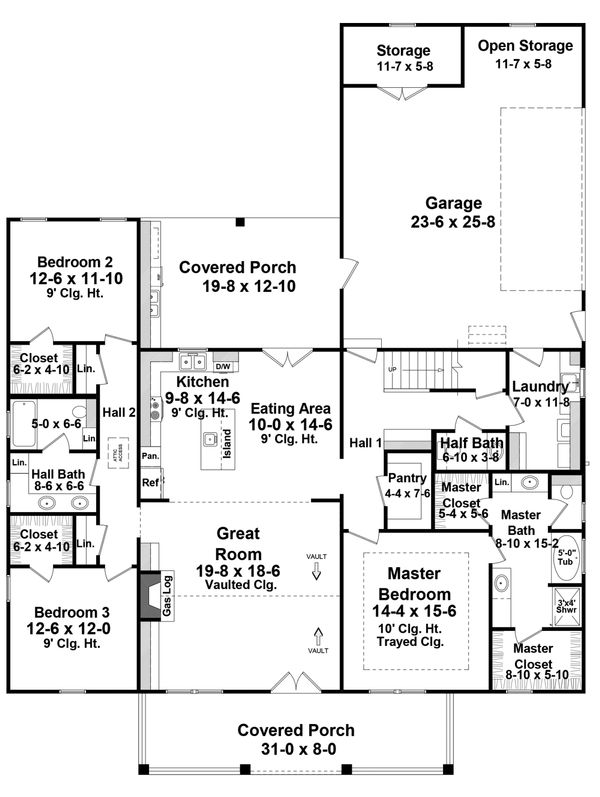 Farmhouse Floor Plan - Main Floor Plan Plan #21-443