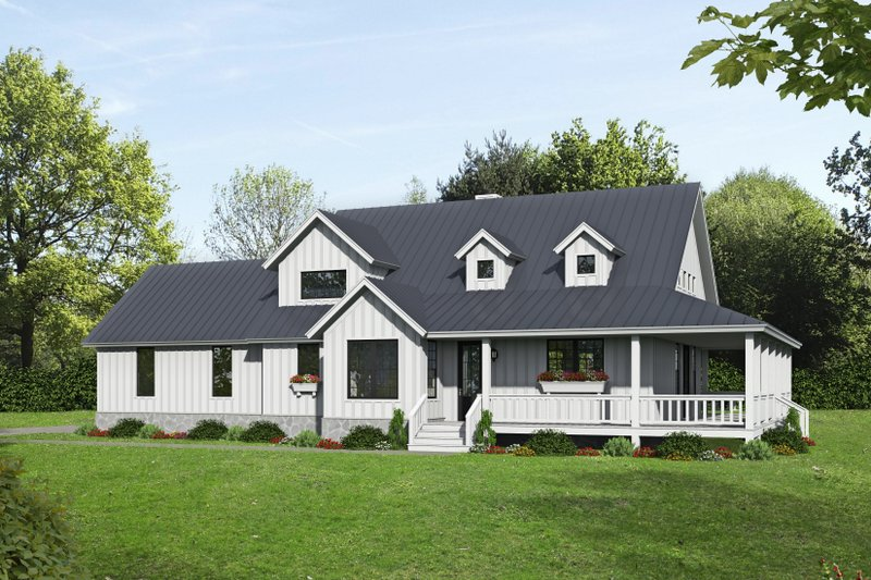 Farmhouse Style House Plan - 3 Beds 2.5 Baths 2400 Sq/Ft Plan #932-137 Exterior - Front Elevation
