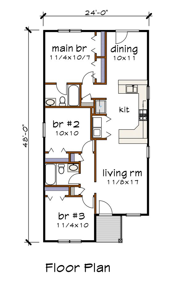 Cottage Floor Plan - Main Floor Plan #79-130