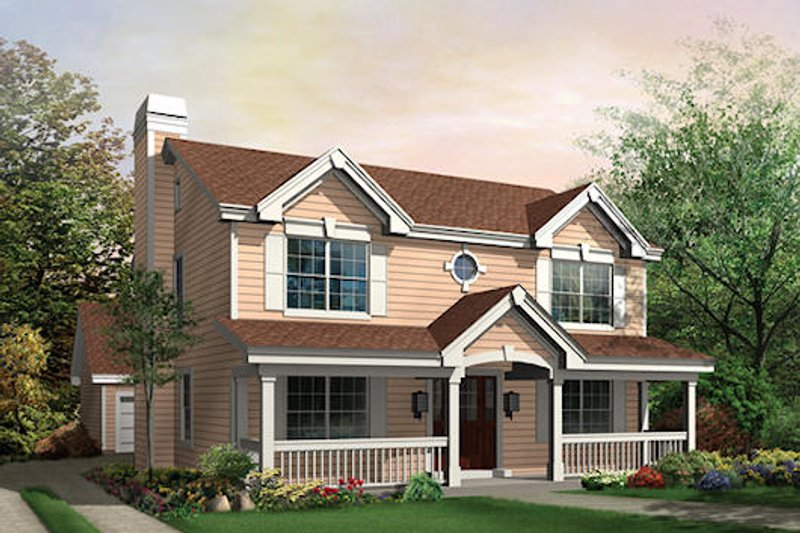 Country Style House Plan - 3 Beds 2.5 Baths 2054 Sq/Ft Plan #57-327 Exterior - Front Elevation