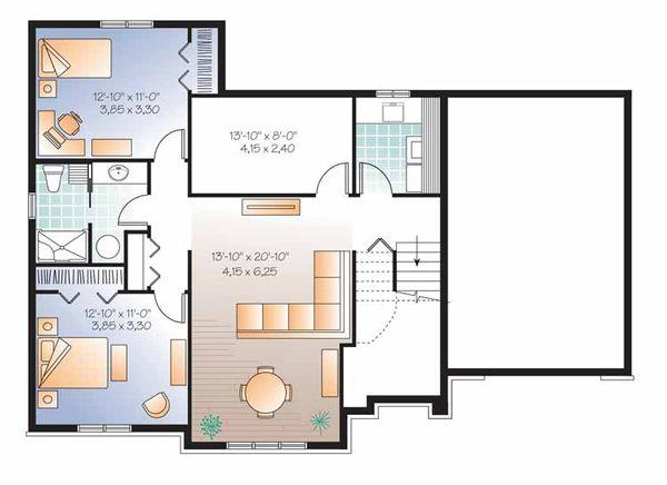 European Floor Plan - Lower Floor Plan Plan #23-2540