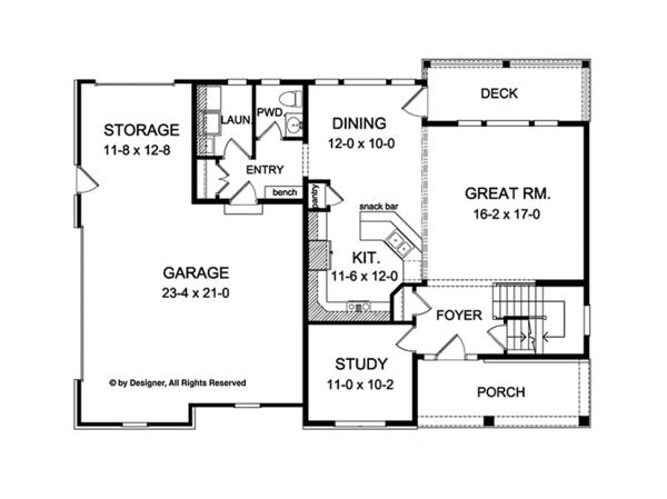 Colonial Floor Plan - Main Floor Plan Plan #1010-115