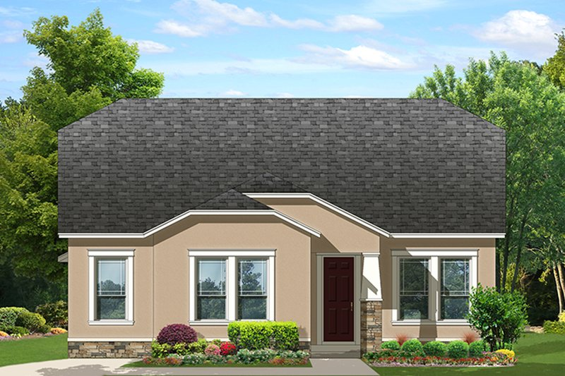 Ranch Exterior - Front Elevation Plan #1058-139