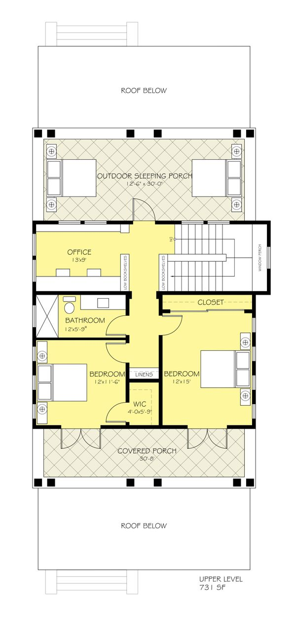 Craftsman Floor Plan - Upper Floor Plan Plan #888-10