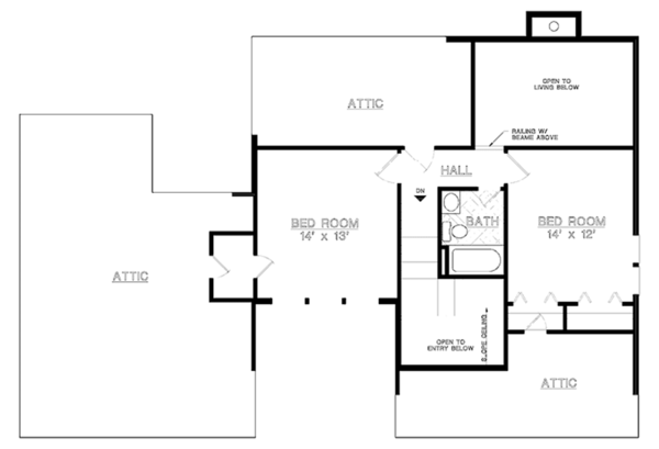 Contemporary Floor Plan - Upper Floor Plan Plan #45-526