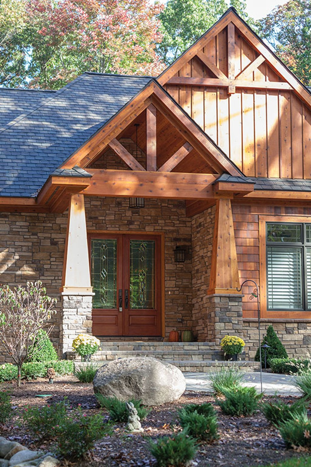Craftsman style house plan 3 beds 3 baths 3554 sq ft for Rustic wood homes