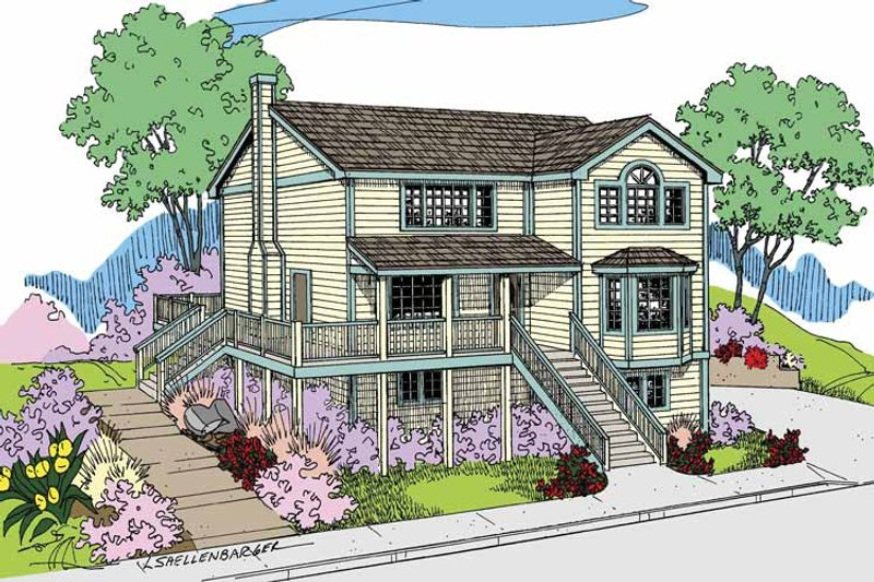 Architectural House Design - Traditional Exterior - Front Elevation Plan #60-1009