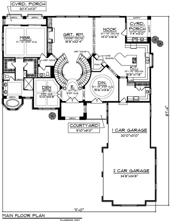 European Floor Plan - Main Floor Plan Plan #70-925