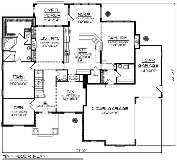 Craftsman Floor Plan - Main Floor Plan Plan #70-956