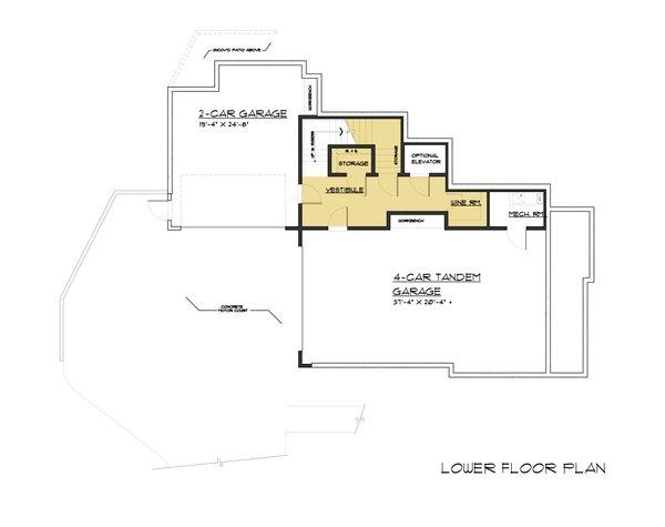 Modern Floor Plan - Lower Floor Plan Plan #1066-43