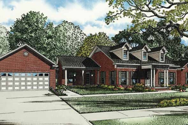 Country Exterior - Front Elevation Plan #17-3296