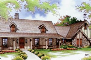 Architectural House Design - Country Exterior - Front Elevation Plan #45-115