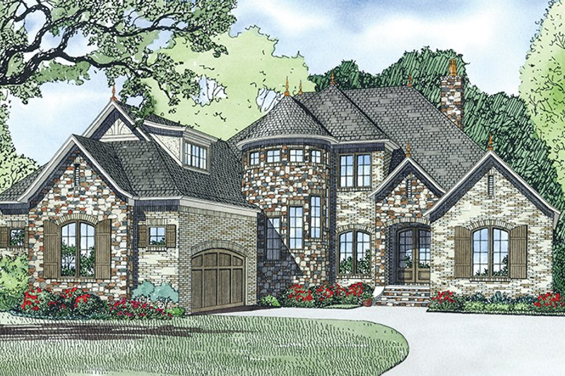 European Exterior - Front Elevation Plan #17-3366 - Houseplans.com