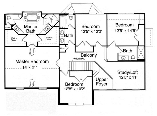 Traditional Floor Plan - Upper Floor Plan Plan #46-837