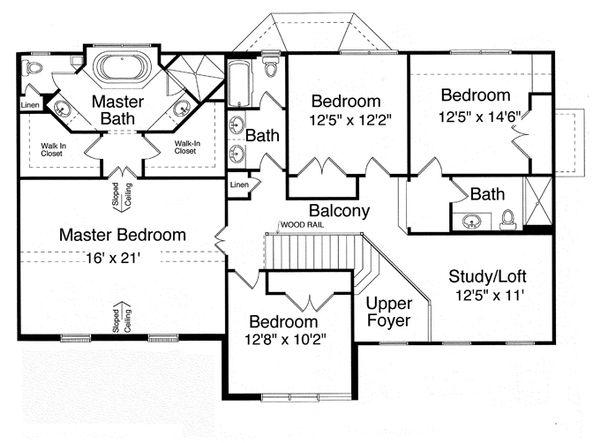 Traditional Floor Plan - Upper Floor Plan Plan #46-837