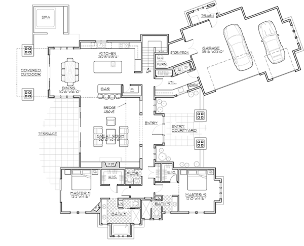 Craftsman Floor Plan - Main Floor Plan Plan #892-19